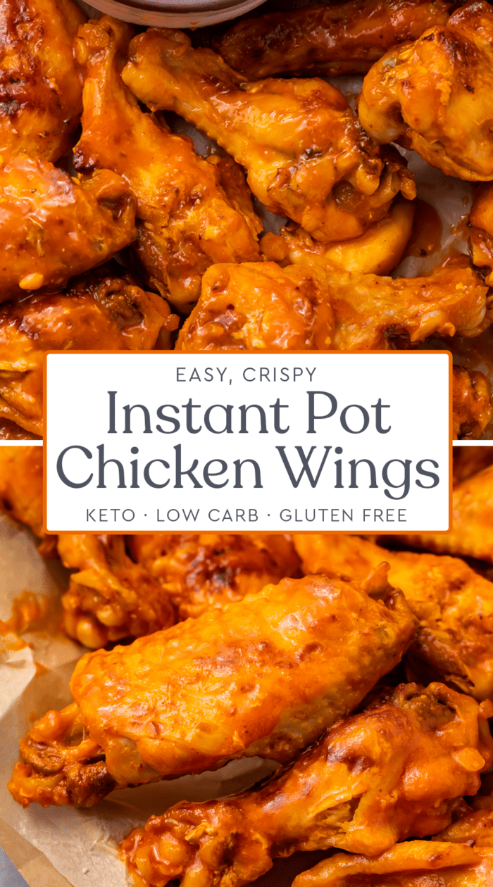 Pin graphic for Instant Pot chicken wings