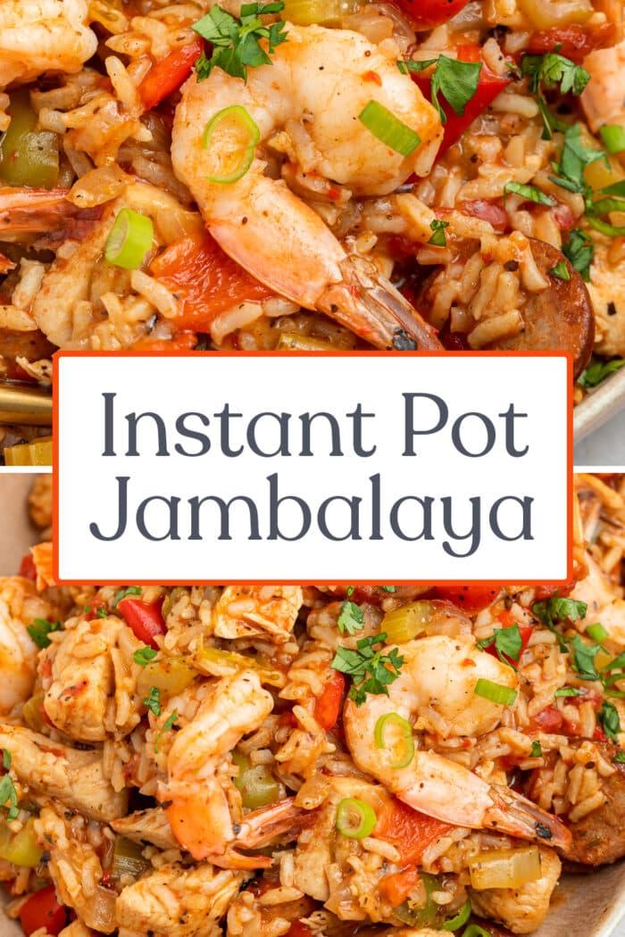 Pin graphic for Instant Pot jambalaya