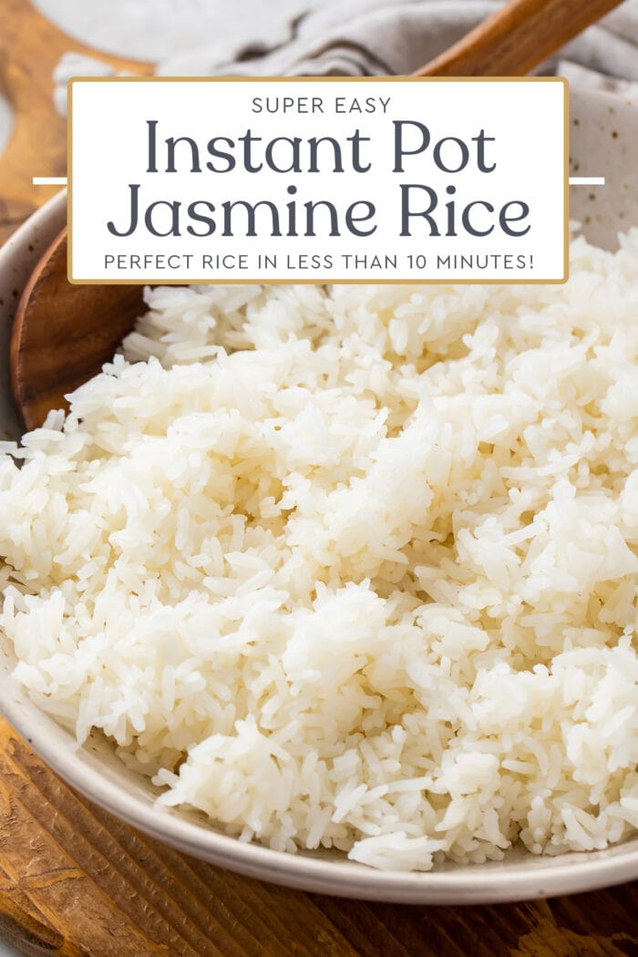 Pin graphic for Instant Pot jasmine rice