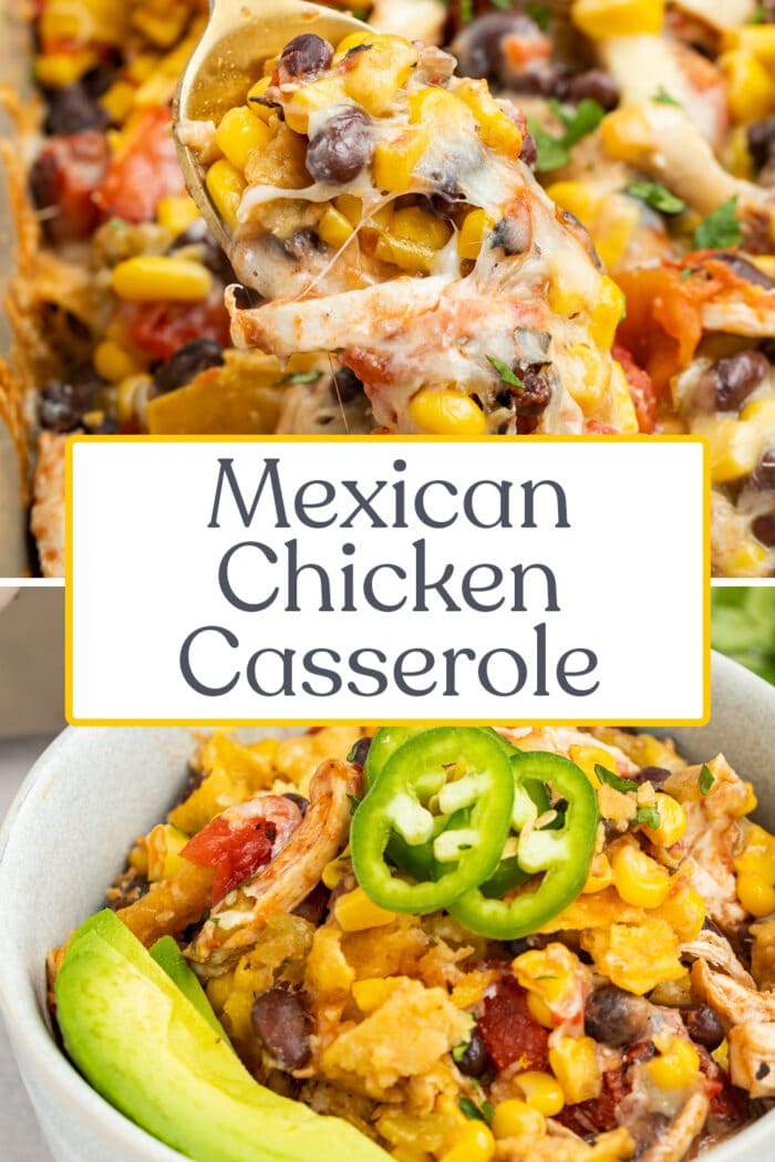 Pin graphic for Mexican chicken casserole