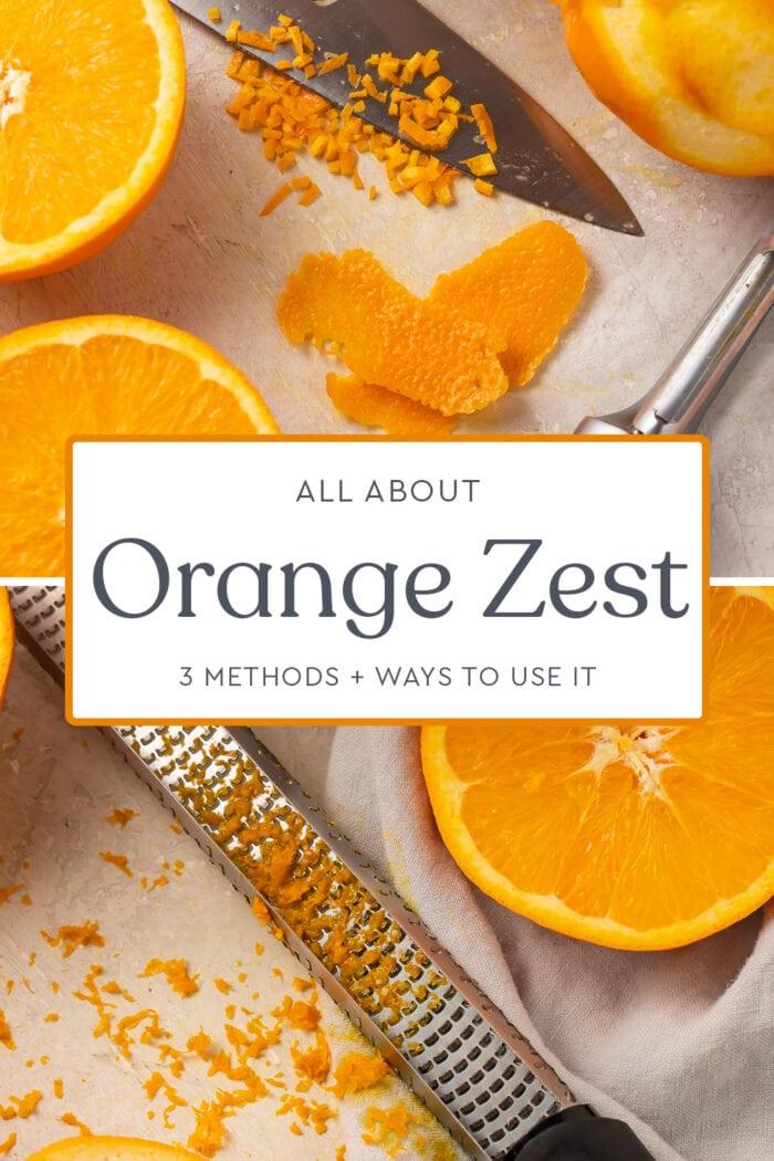 Pin graphic for orange zest