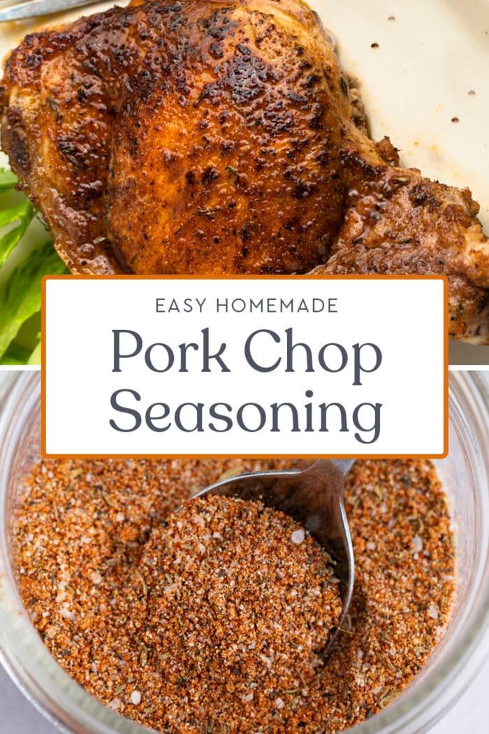 Pin graphic for pork chop seasoning