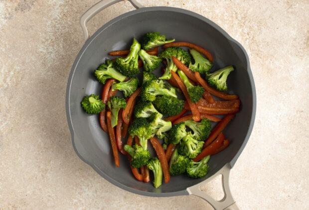 Stir fry veggies in large skillet