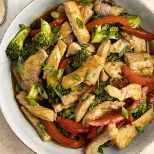 Pork stir fry in a bowl without rice