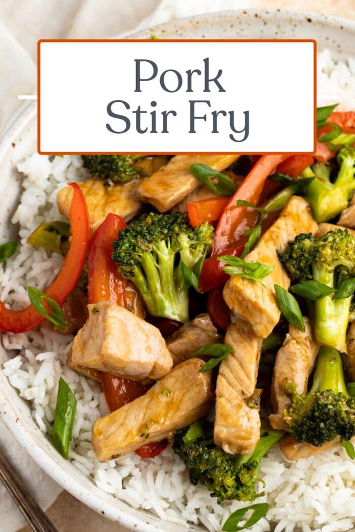 Pin graphic for pork stir fry