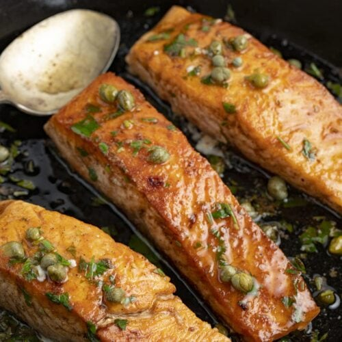 Salmon meuniere in a cast iron skillet
