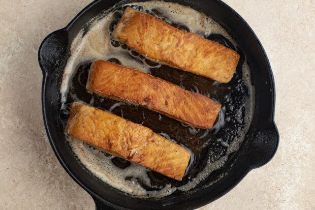Salmon meuniere in cast iron skillet
