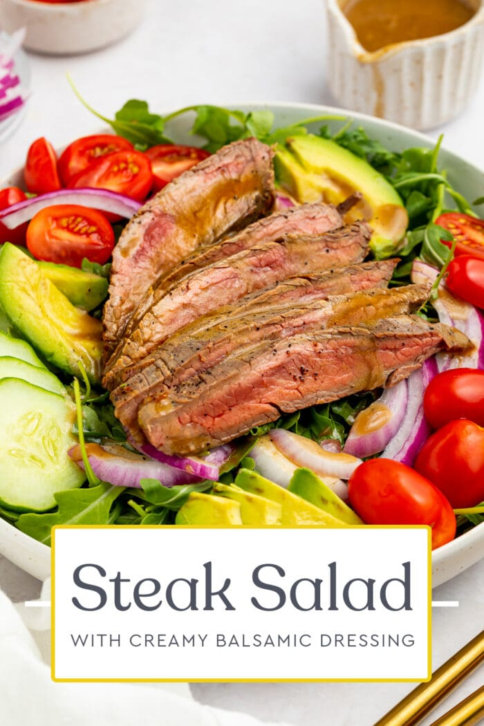 Pin graphic for steak salad