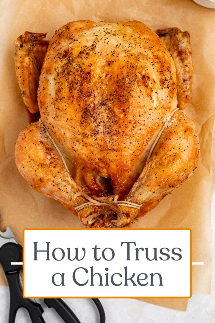Pin graphic for how to truss a chicken