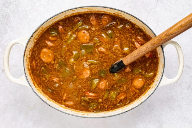 chicken and sausage gumbo step 4
