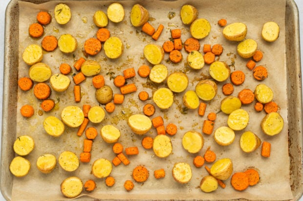 roasted potatoes and carrots step 2