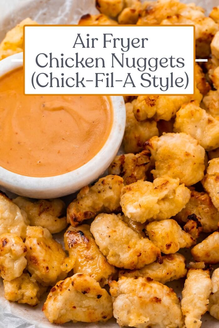 Pin graphic for air fryer chicken nuggets