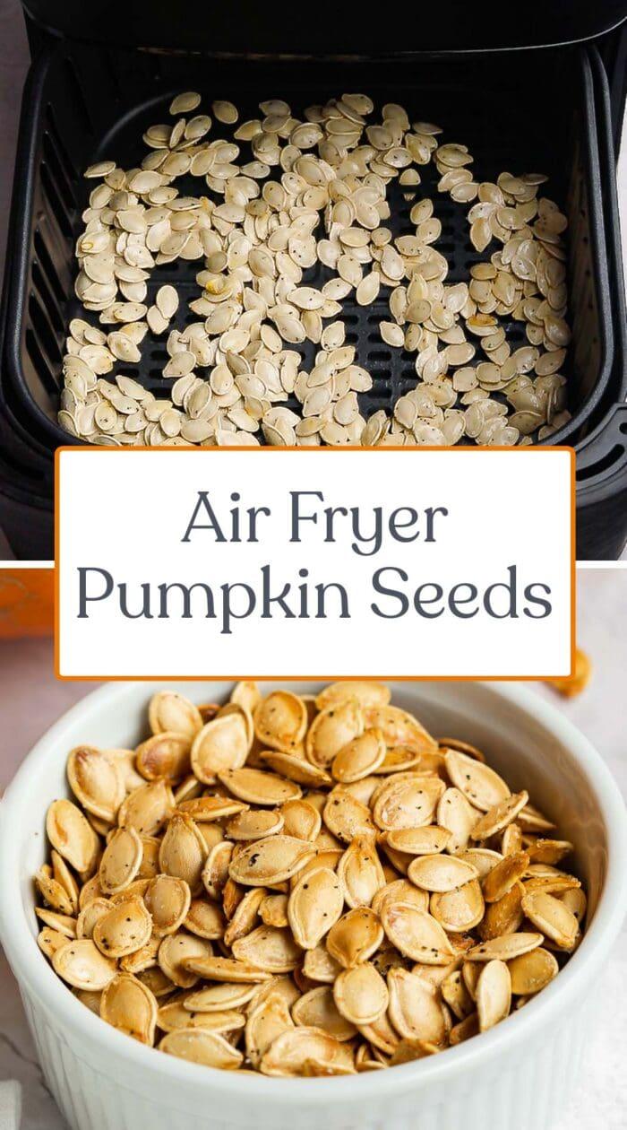 Pin graphic for air fryer pumpkin seeds