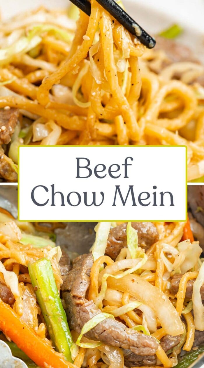 Pin graphic for beef chow mein