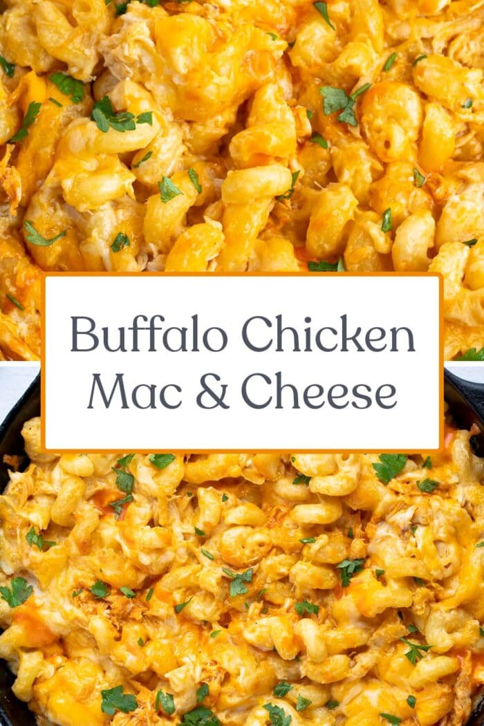 Pin graphic for buffalo chicken mac and cheese