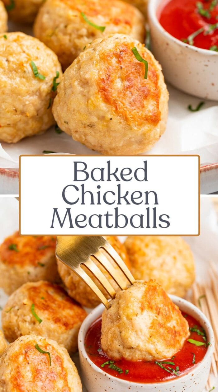 Pin graphic for baked chicken meatballs