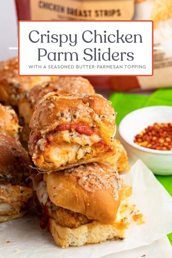 Pin graphic for crispy chicken parm sliders