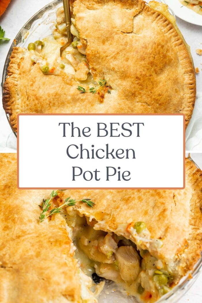 Pin graphic for chicken pot pie