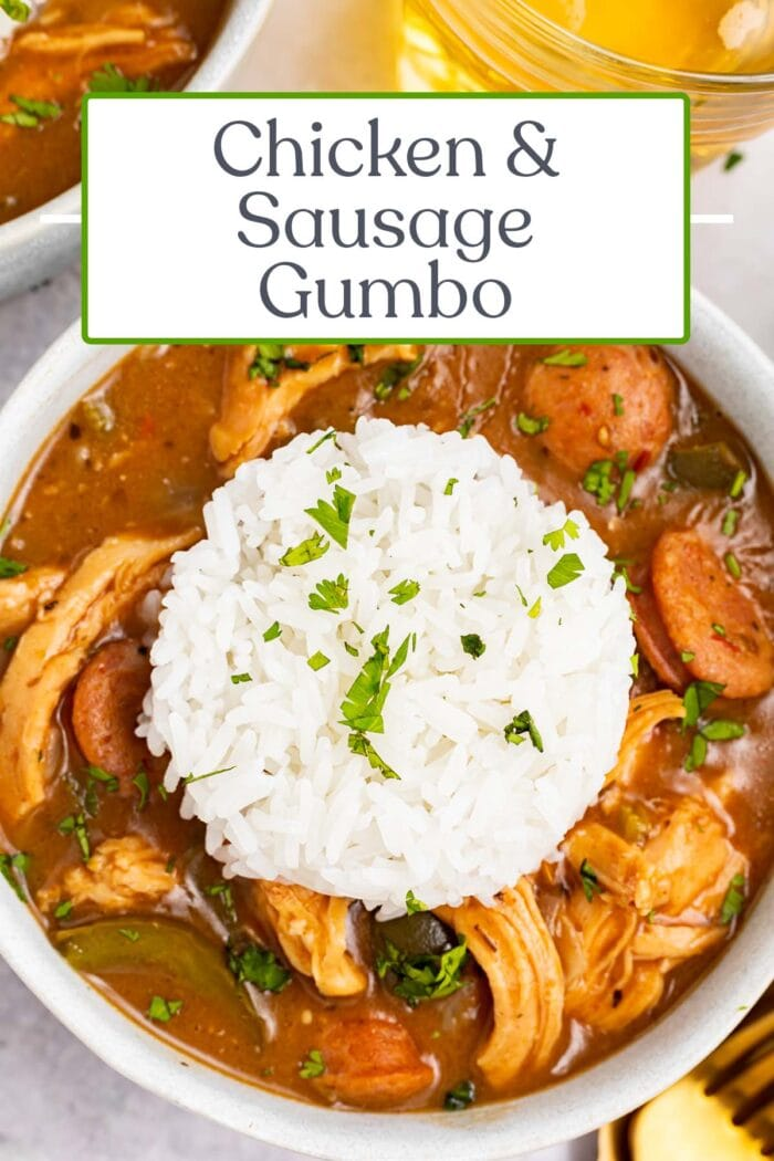 Pin graphic for chicken and sausage gumbo