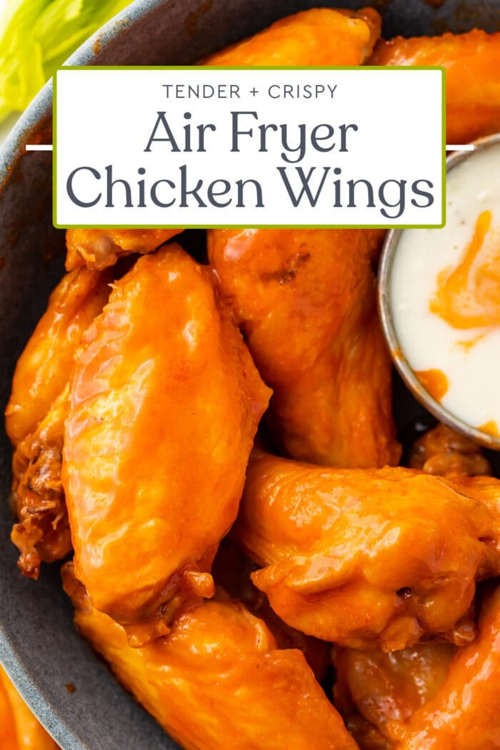Pin graphic for air fryer chicken wings
