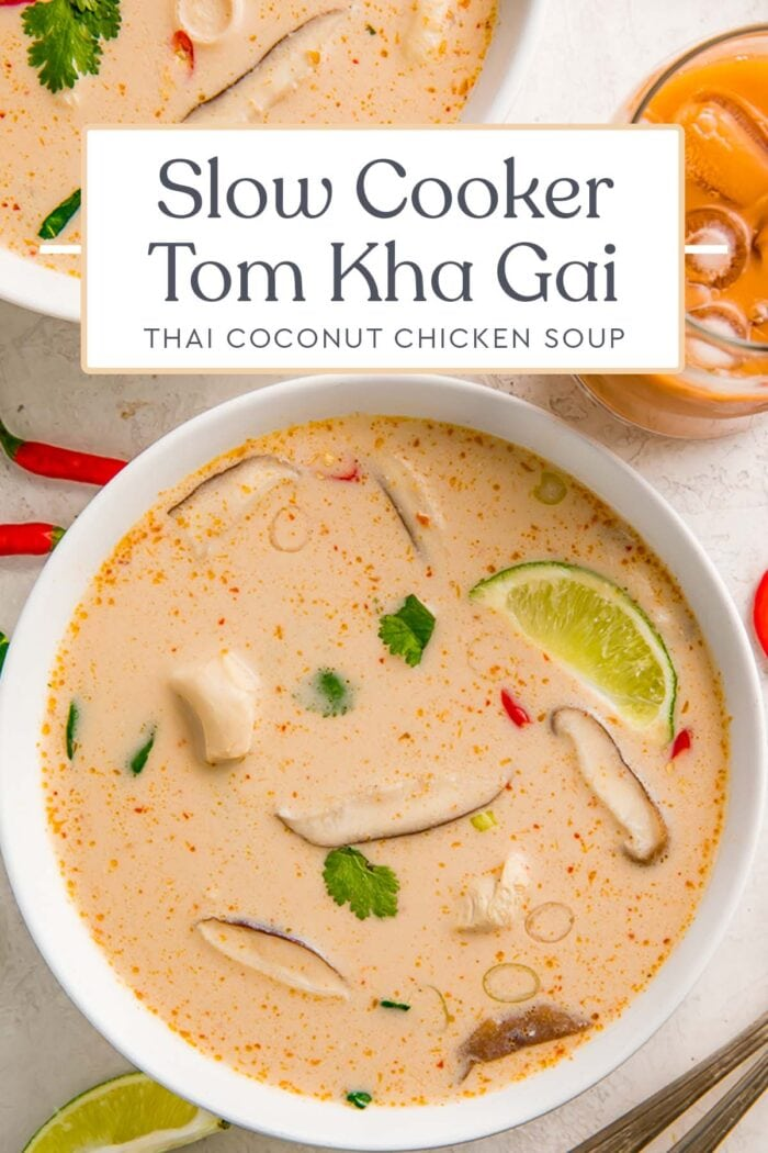 Pin graphic for slow cooker tom kha gai