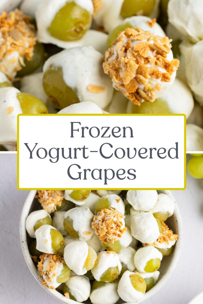 Pin graphic for frozen yogurt-covered grapes