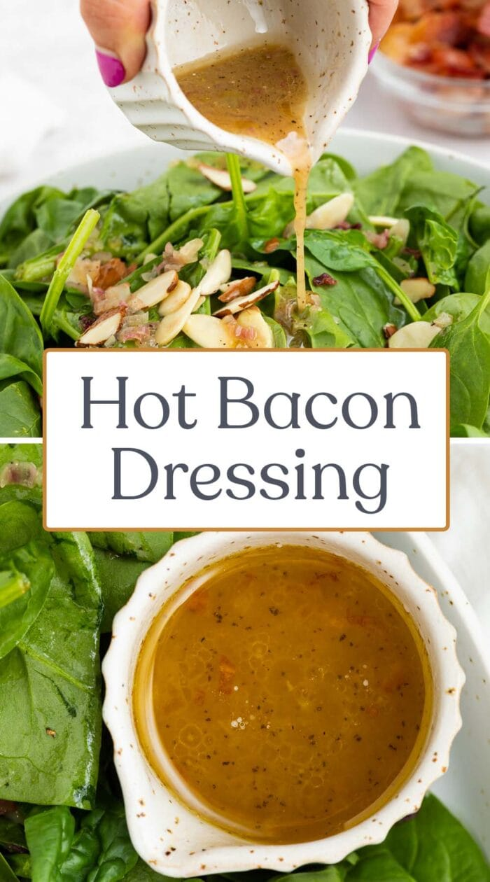 Pin graphic for hot bacon dressing