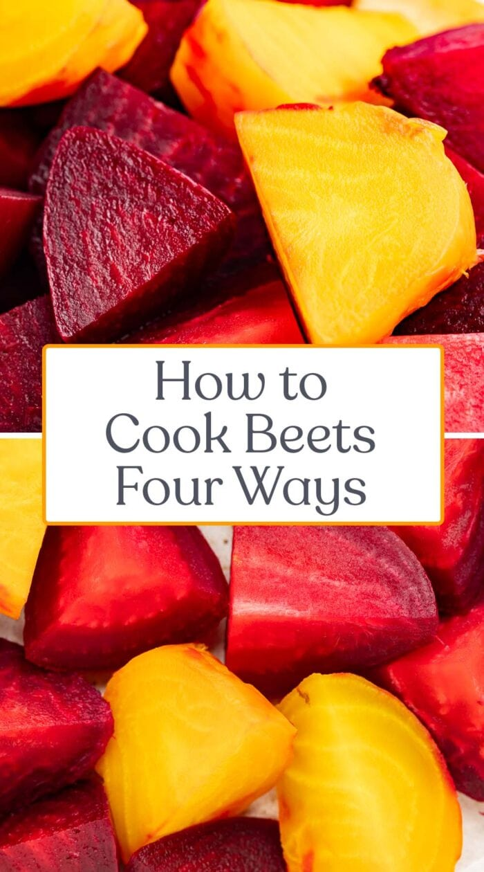 Pin graphic for how to cook beets