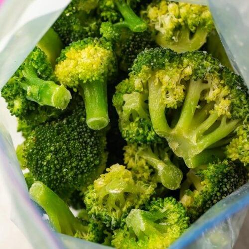 Frozen broccoli in ziploc bag