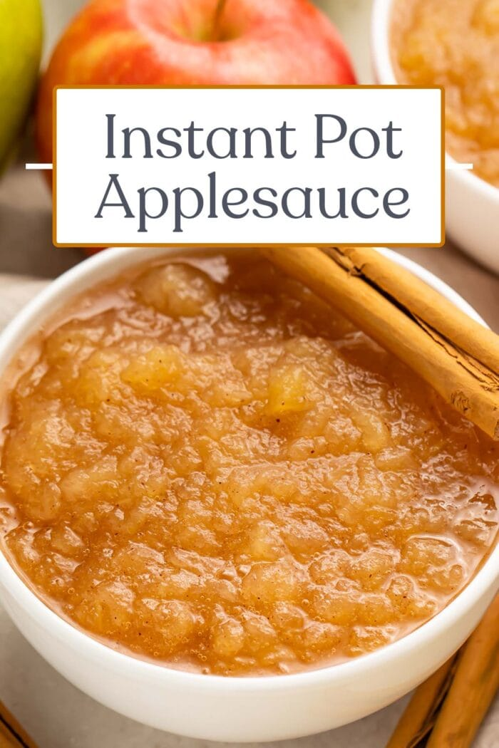 Pin graphic for Instant Pot applesauce