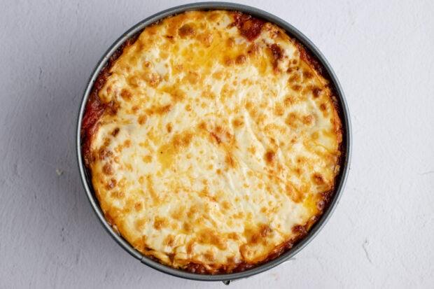 Instant Pot lasagna with browned mozzarella cheese in springform pan