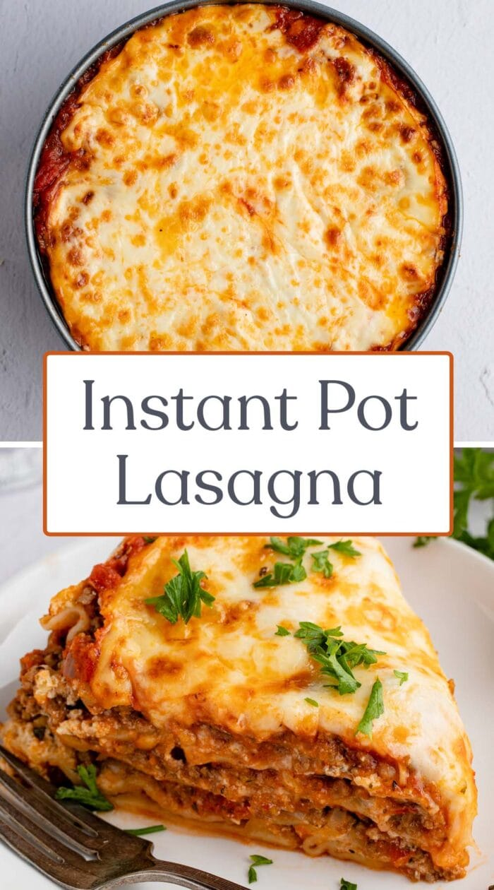 Pin graphic for Instant Pot lasagna