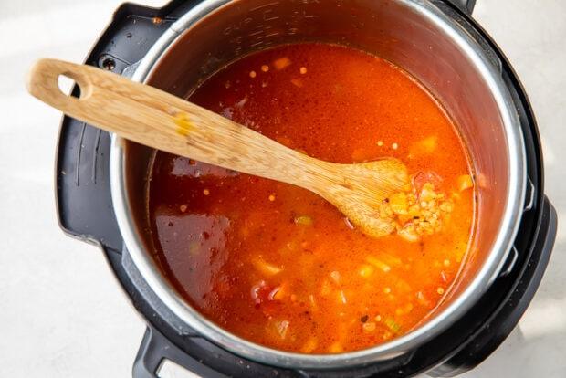 Veggies, seasoning, lentils, and liquid in Instant Pot