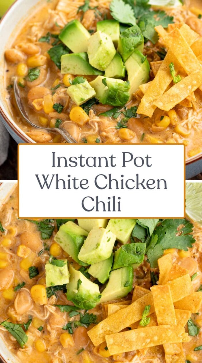 Pin graphic for instant Pot white chicken chili