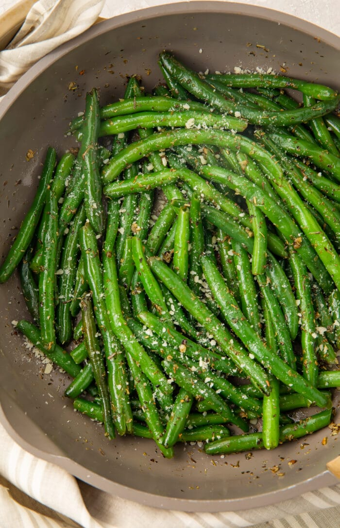 Italian green beans in a large grey bowl