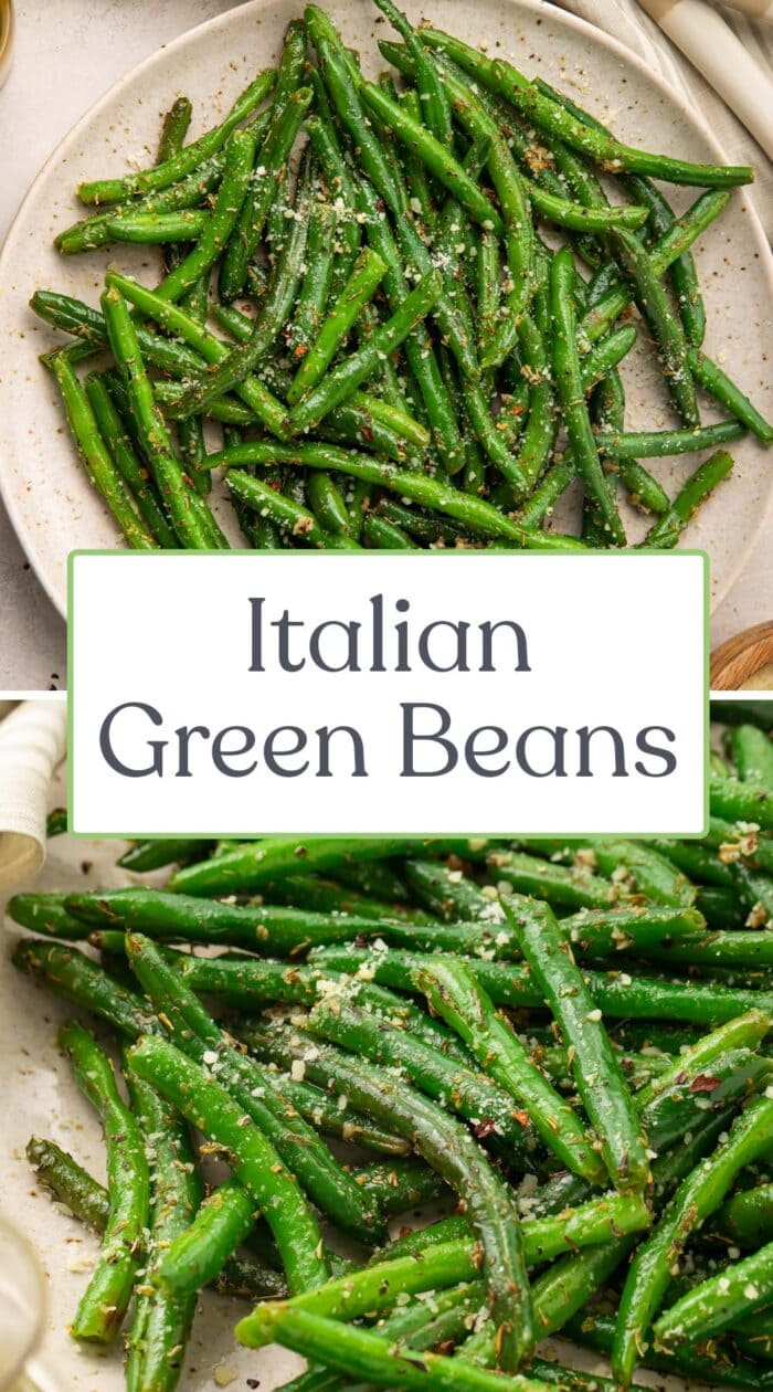 Pin graphic for Italian green beans