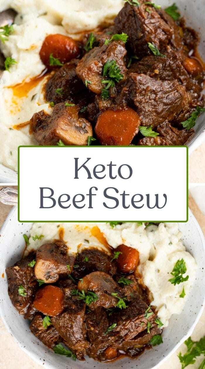 Pin graphic for keto beef stew