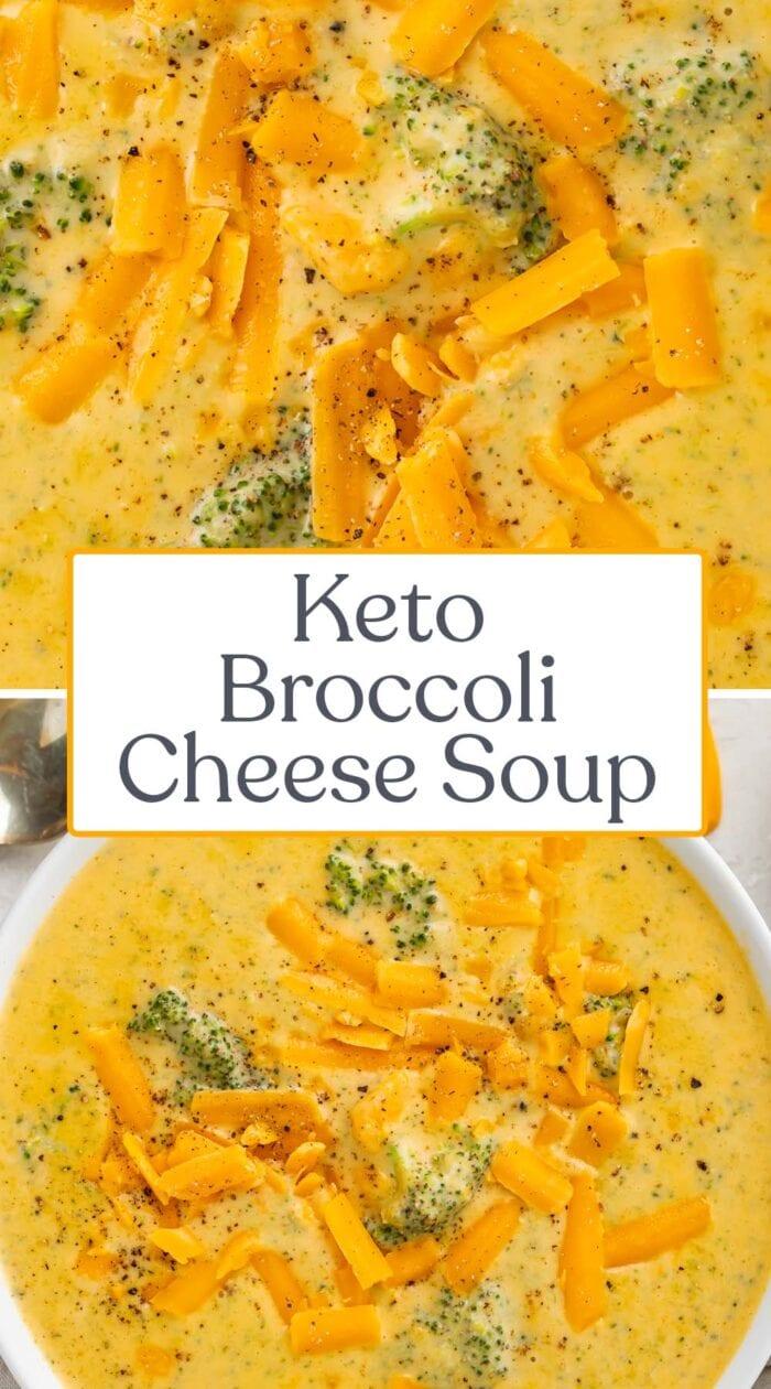 Pin graphic for keto broccoli cheese soup