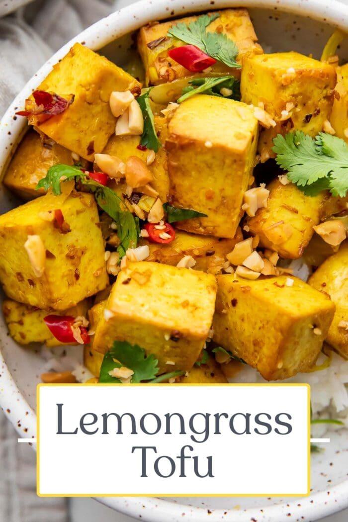 Pin graphic for lemongrass tofu
