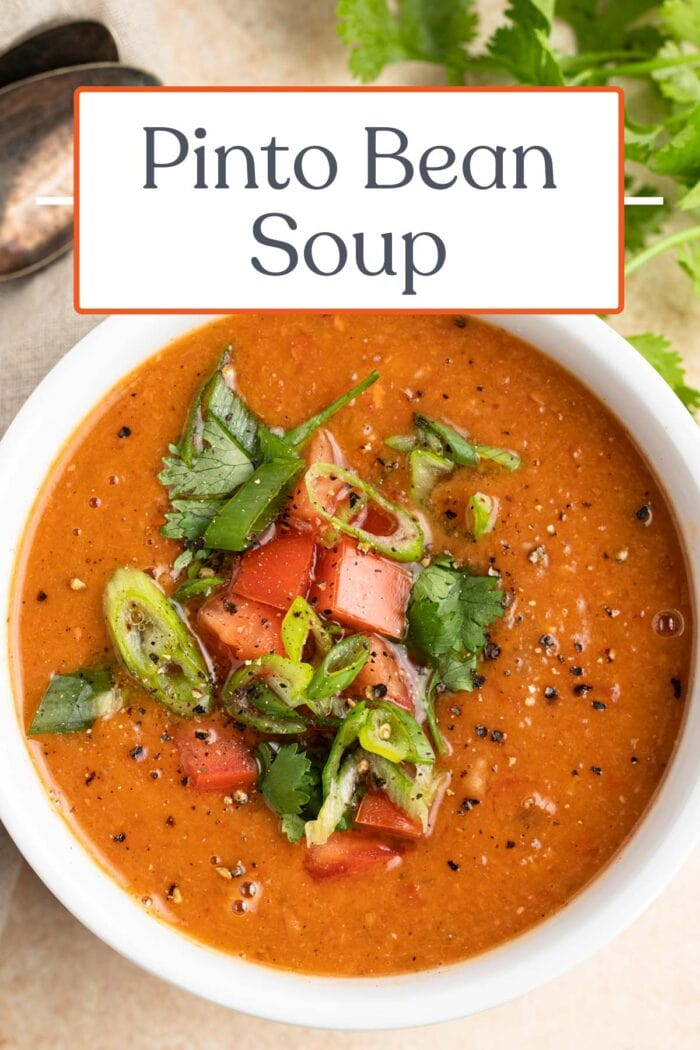 Pin graphic for pinto bean soup