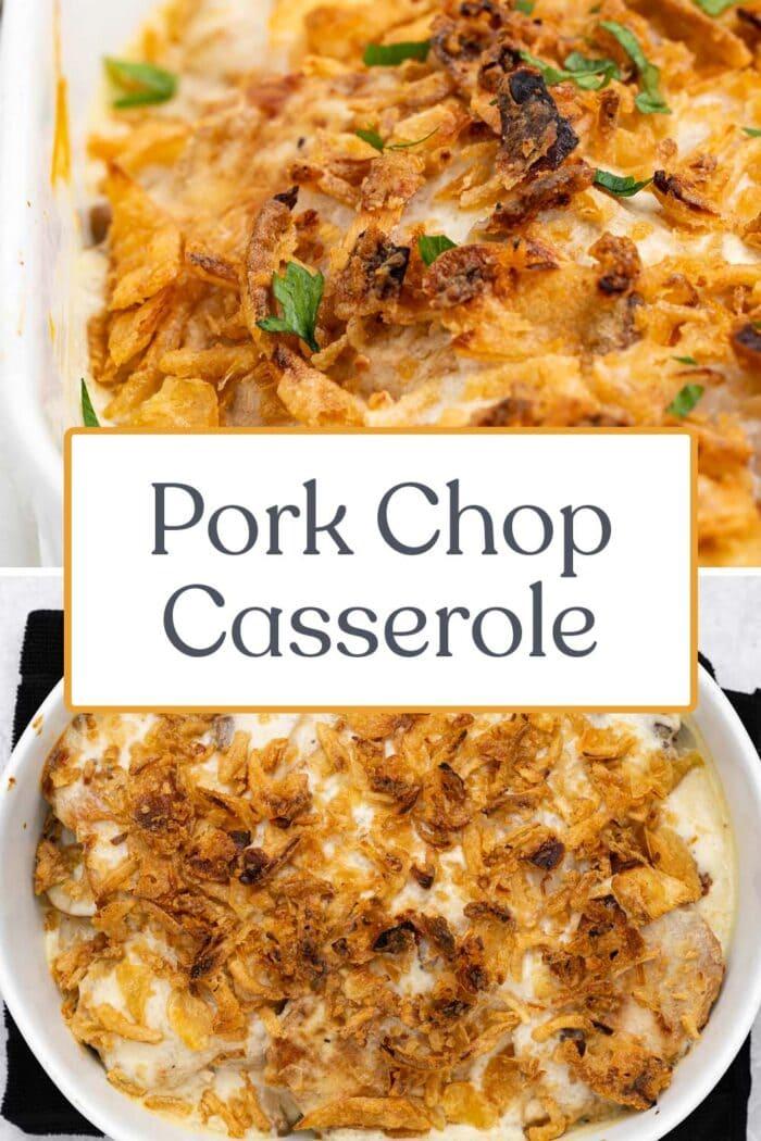 Pin graphic for pork chop casserole