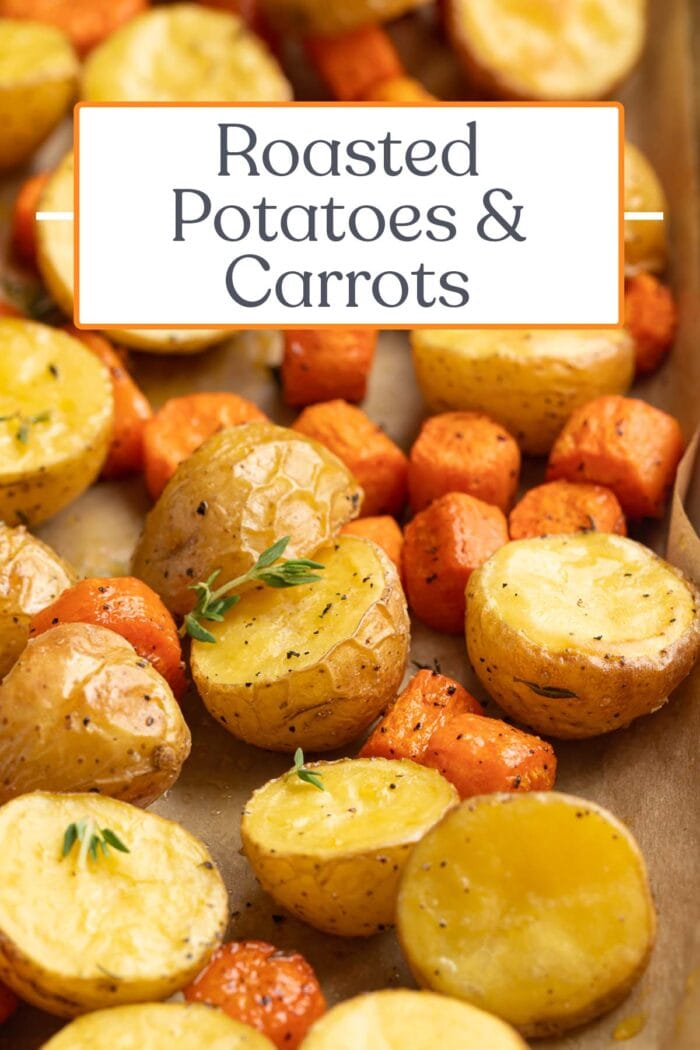 Pin graphic for roasted potatoes & carrots