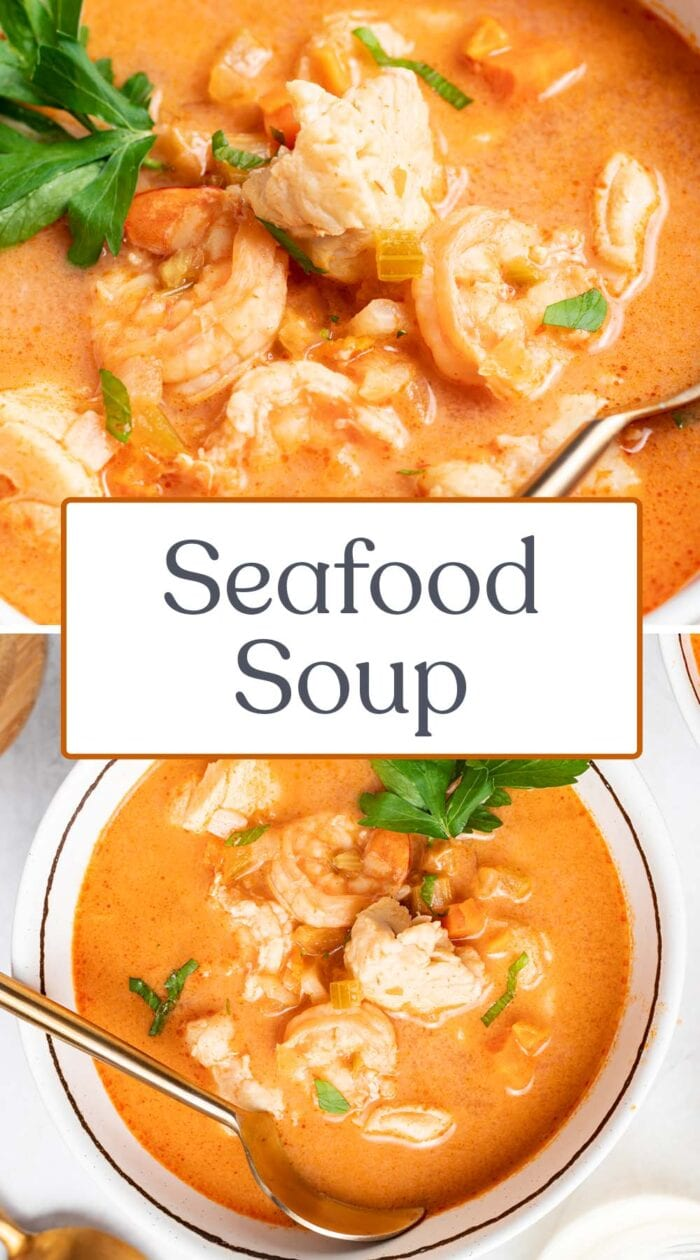 Pin graphic for seafood soup
