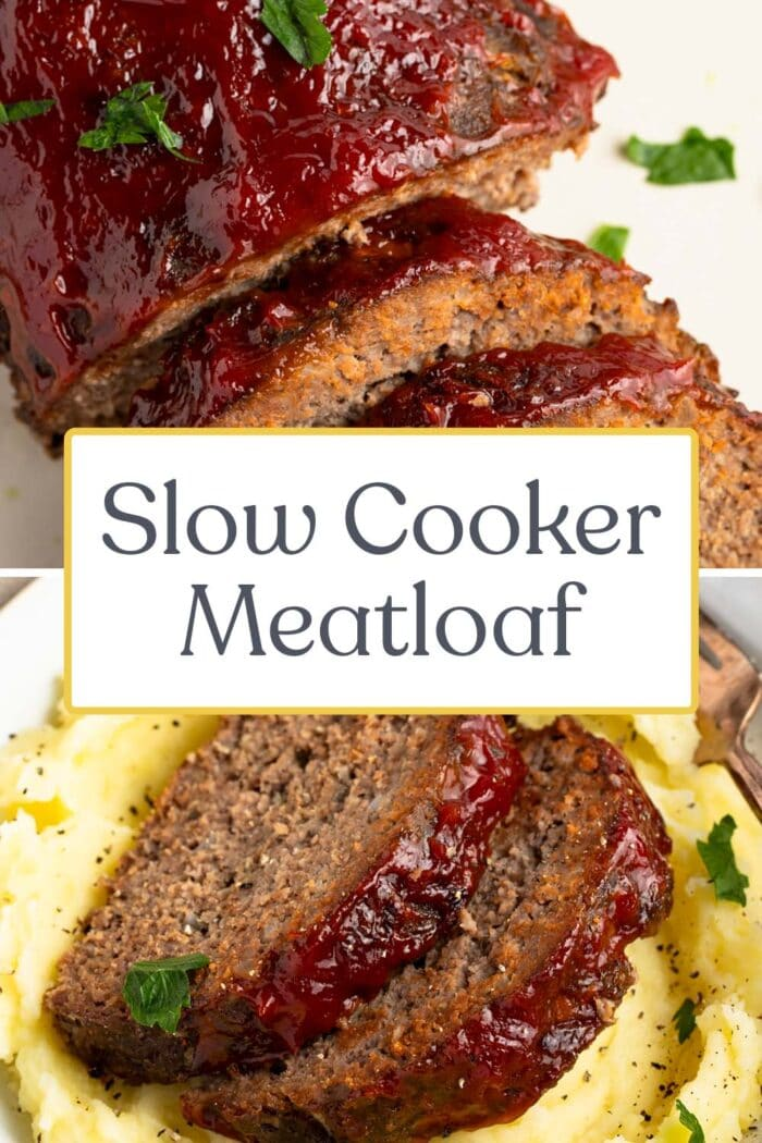 Pin graphic for slow cooker meatloaf