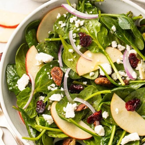Overhead close-up photo of a spinach salad with crumbled feta, red onion, glazed pecans, and dried cranberries in a large bowl