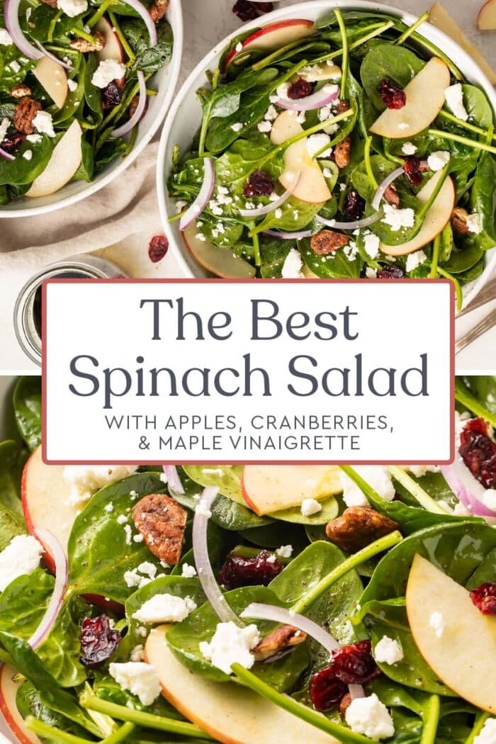 Pin graphic for spinach salad