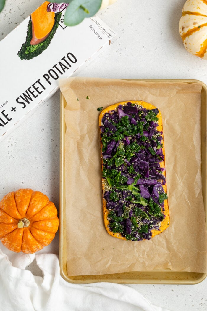 Daily Harvest sweet potato and kale flatbread before cooking