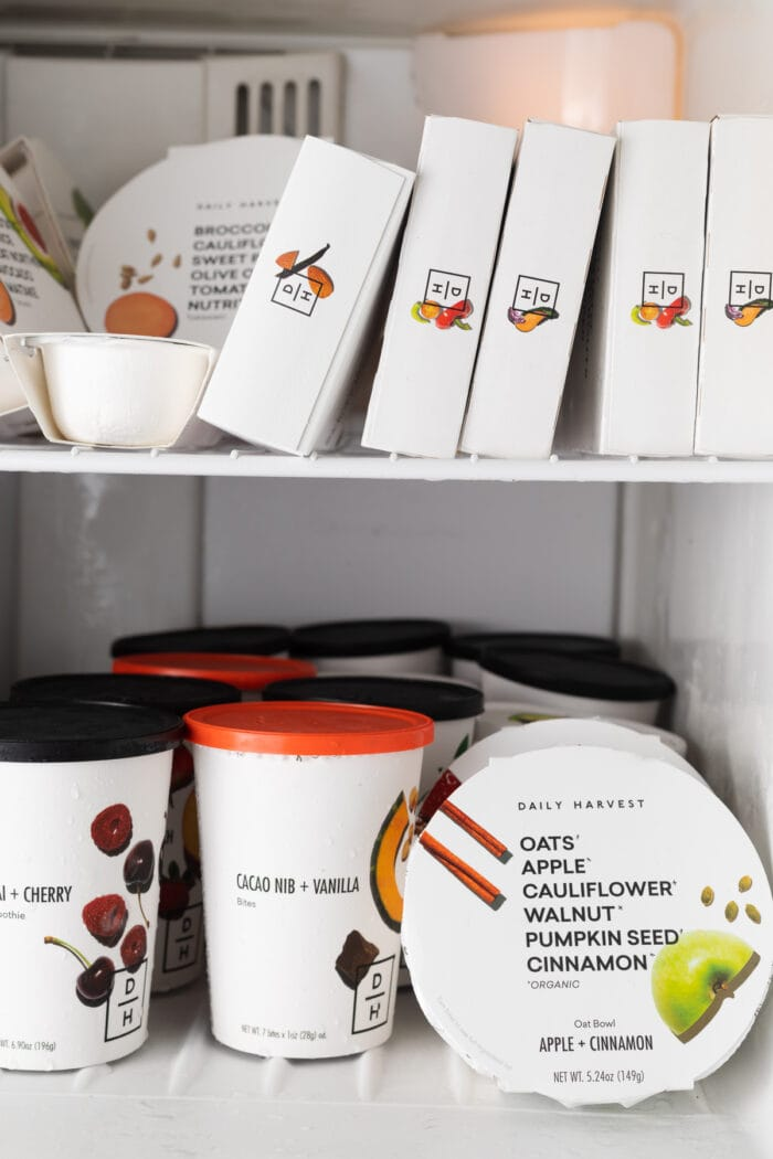 Daily Harvest products in a freezer