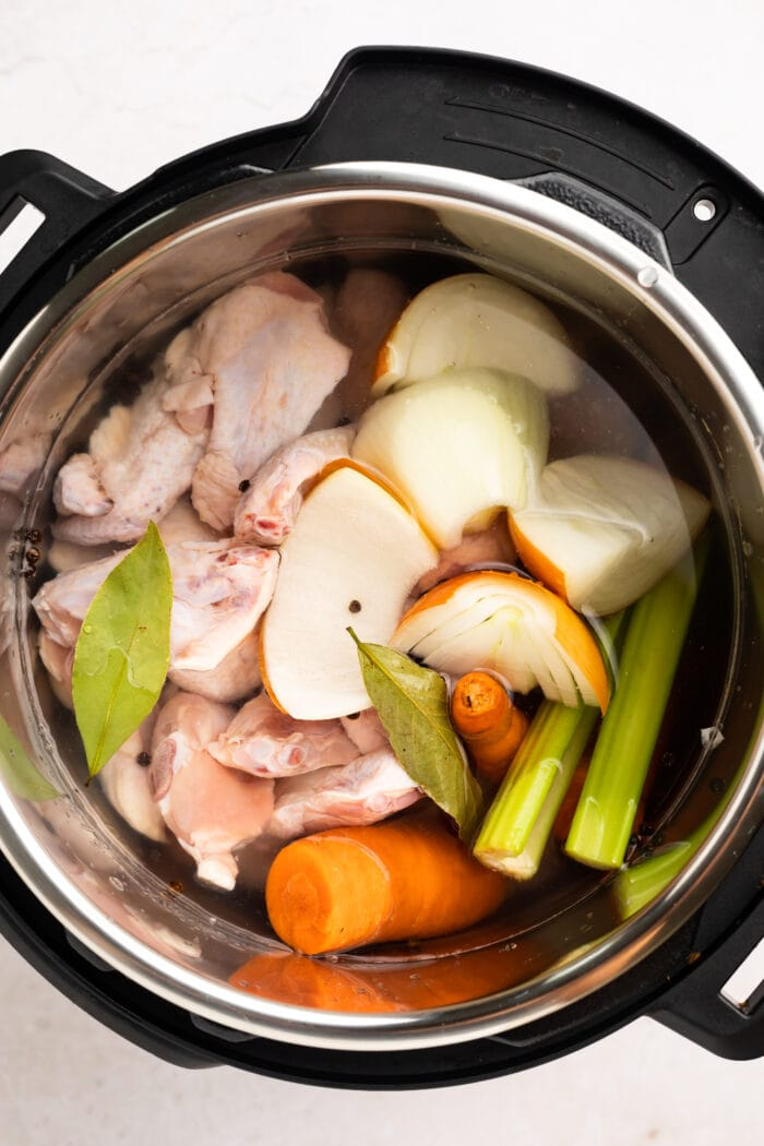 all chicken stock ingredients in the instant pot