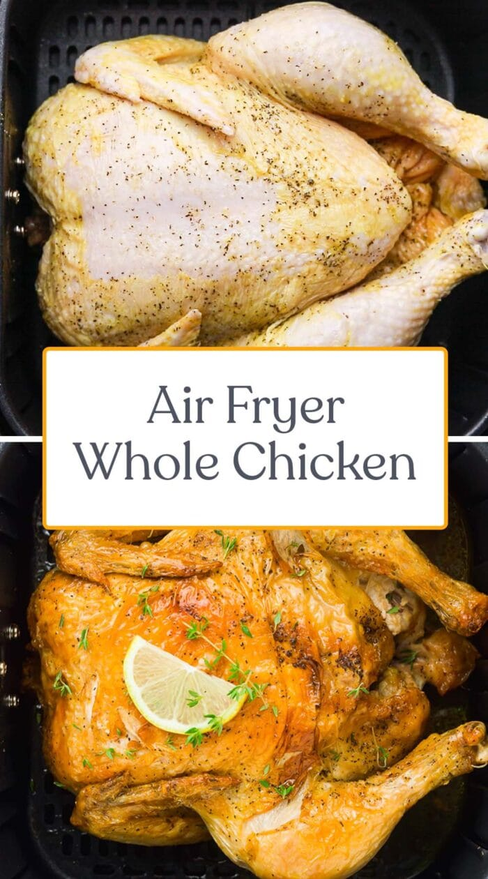 Pin graphic for air fryer whole chicken